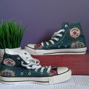 Converse hi top patchwork plaid distressed sneaks